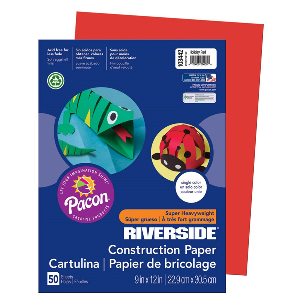PAC103442 - Riverside 9X12 Holiday Red 50 Sht Construction Paper in Construction Paper
