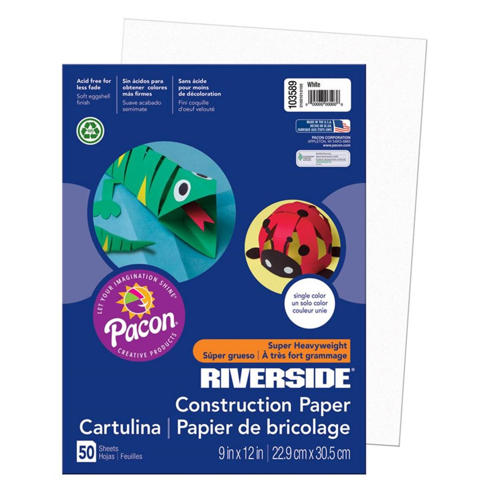 PAC103589 - Riverside 9X12 White 50 Sht Construction Paper in Construction Paper