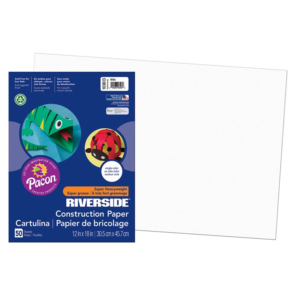 PAC103613 - Riverside 12X18 White 50 Sht Construction Paper in Construction Paper