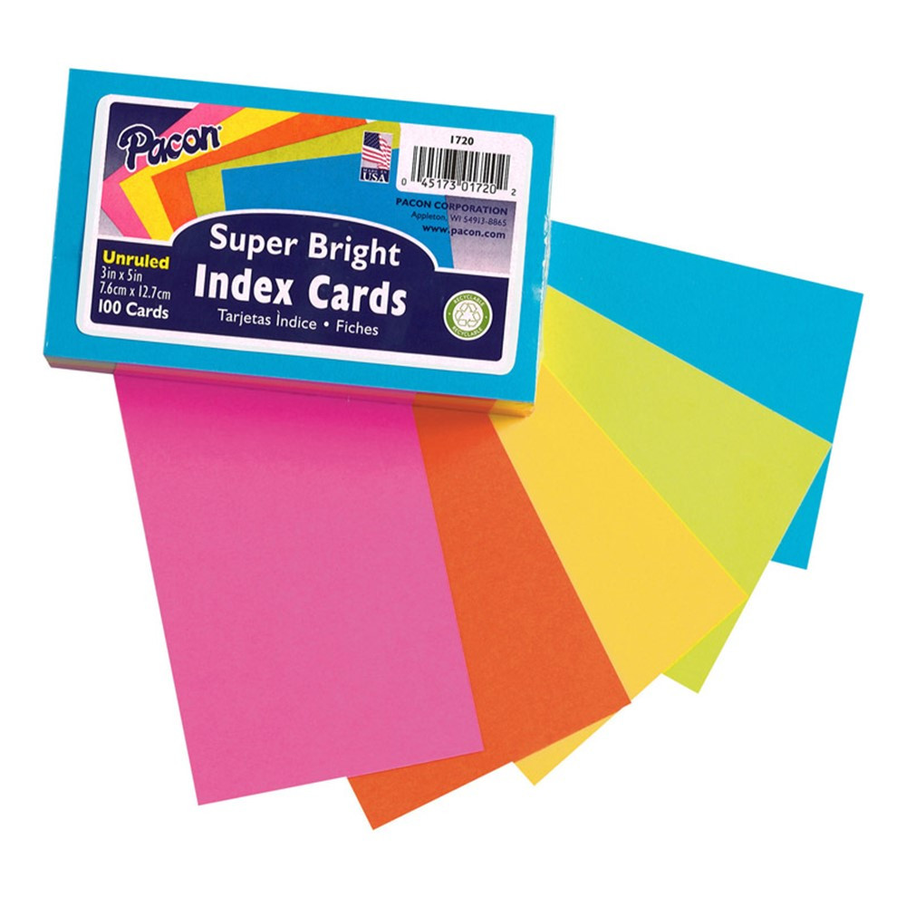 PAC1720 - Super Bright Index Cards 3X5 Unrule in Index Cards