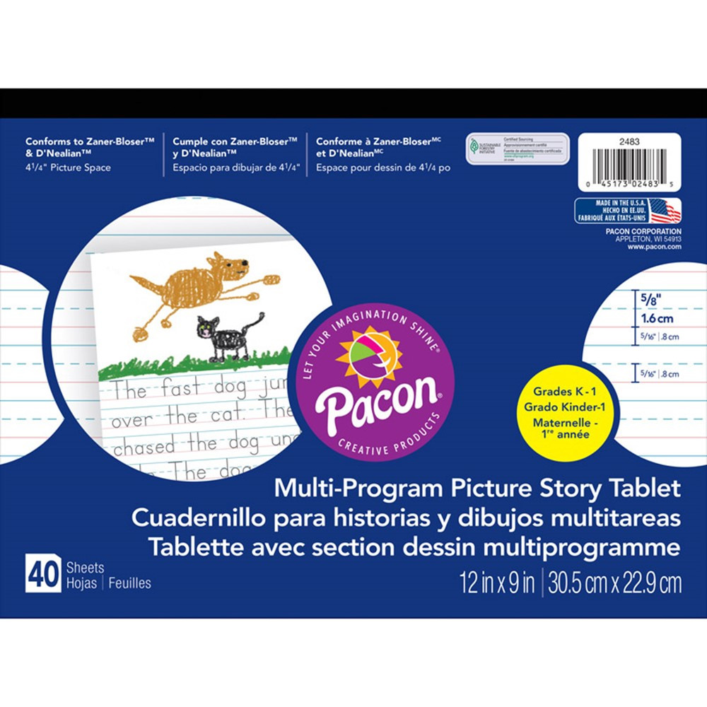 PAC2483 - Picture Story Paper 40 Sht 12X9 5/8 In Rule Long in Handwriting Paper