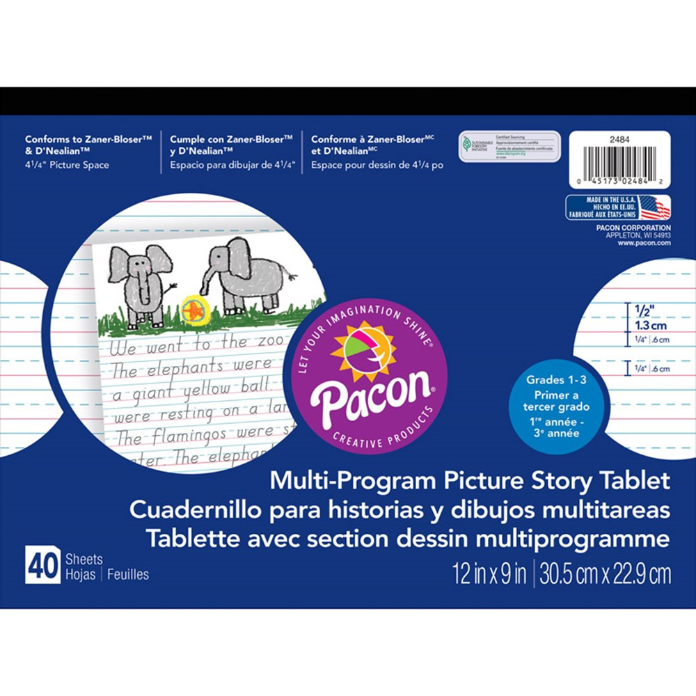 PAC2484 - Picture Story Paper 40 Sht 12X9 1/2 In Rulelong in Handwriting Paper
