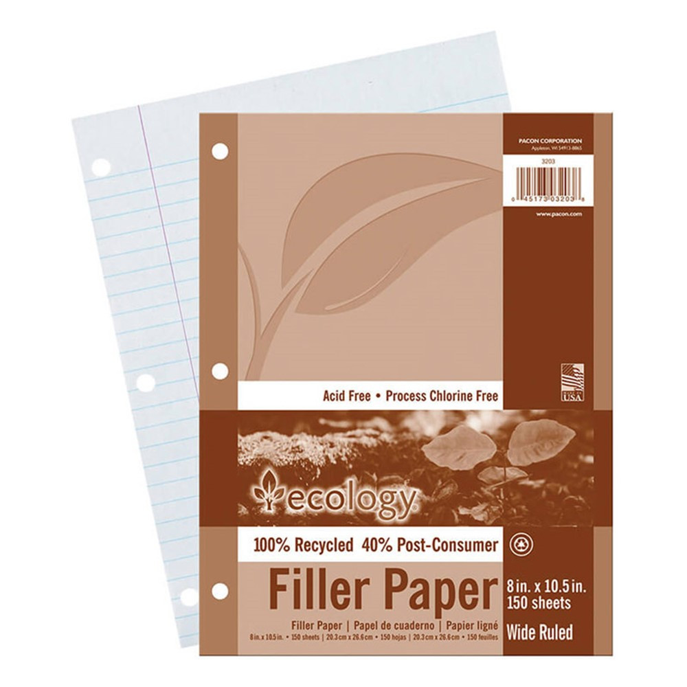 PAC3203 - Ecology Recycled Filler Paper Pack Wide Ruled in Loose Leaf Paper
