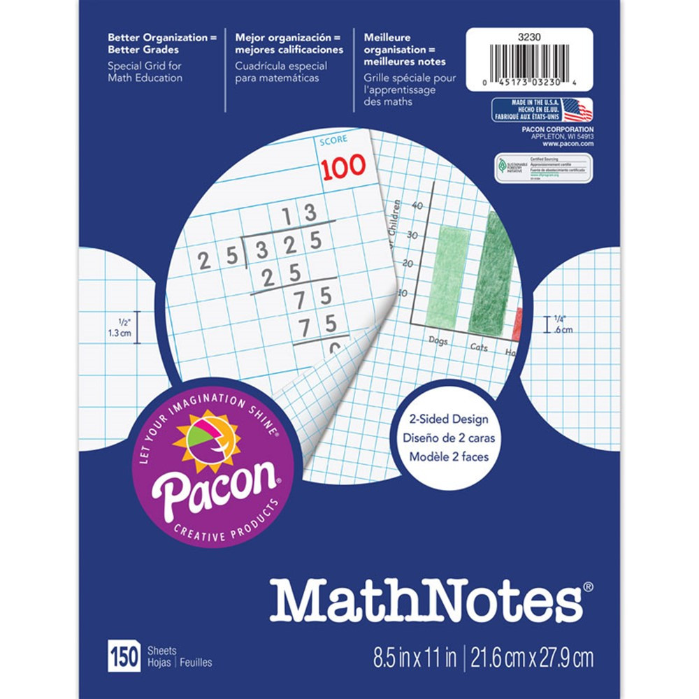 PAC3230 - Mathnotes White 150 Ct 8.5 X 11 In in Loose Leaf Paper