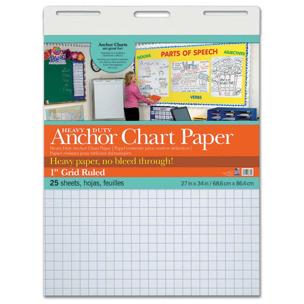 heavy duty anchor 27x34 1in grid ruled chart paper pac3372 pacon