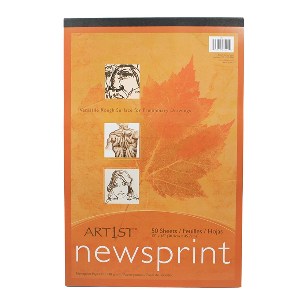 PAC3441 - Art1st Newsprint Pad 12X18 50 Sht in News Print