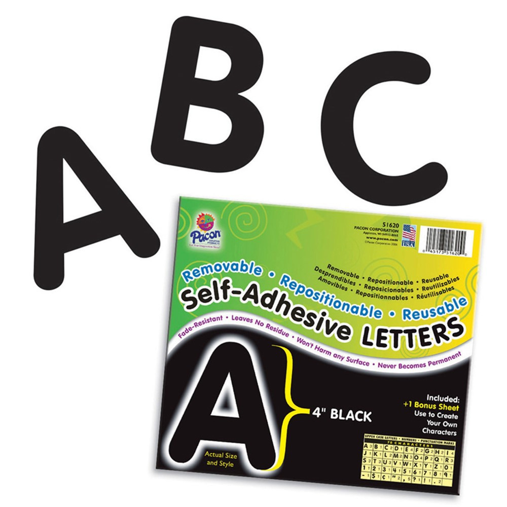 Self adhesive letter 4in black pac51620 pacon for Black adhesive letters