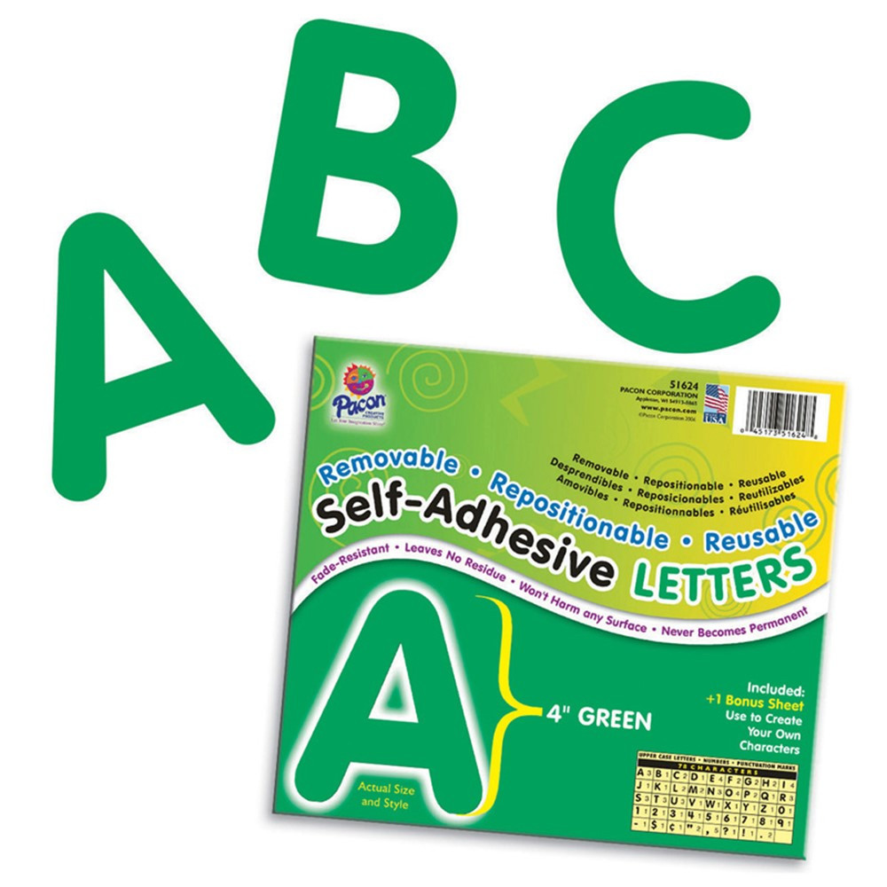 PAC51624 - Self Adhesive Letter 4In Green in Letters