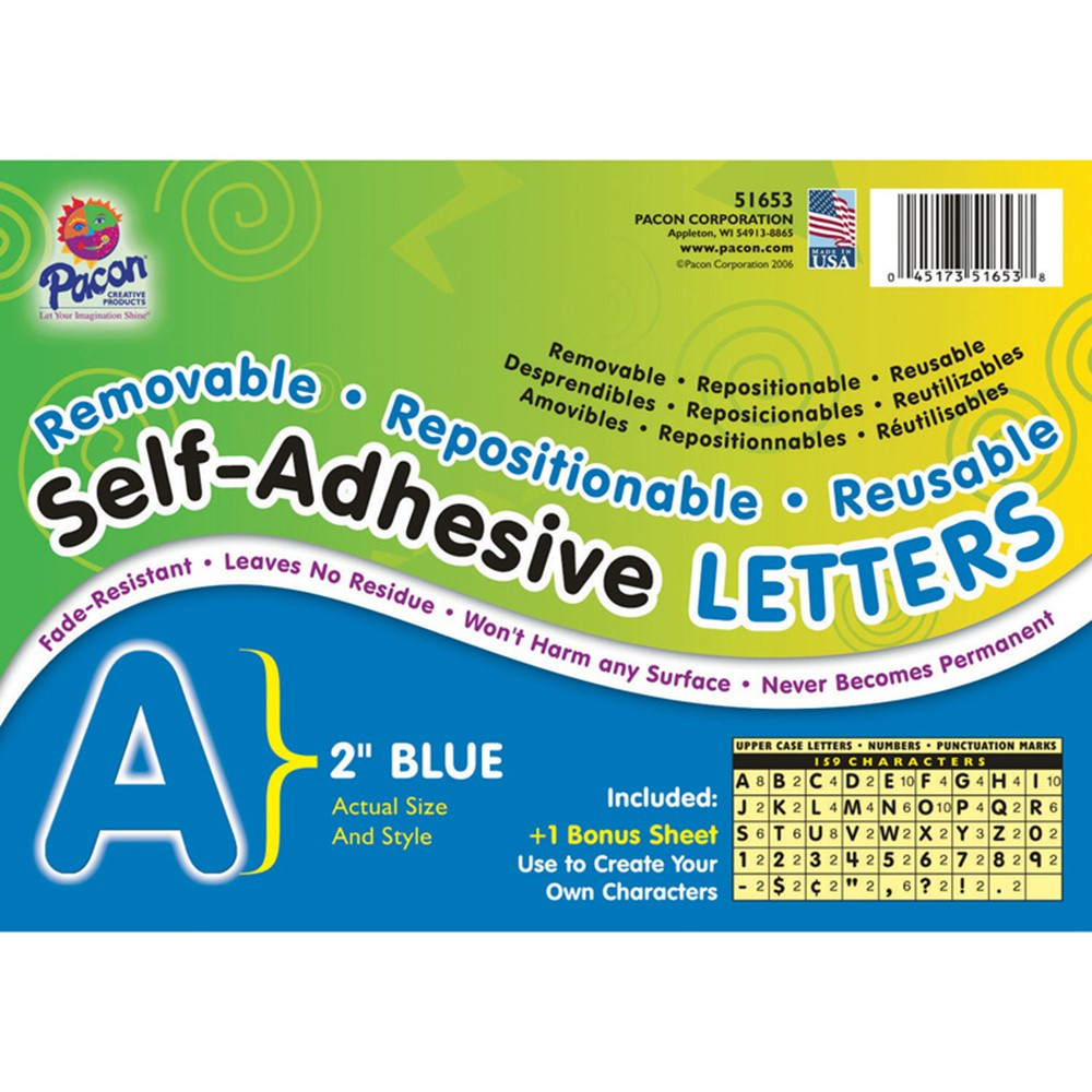 PAC51653 - Self Adhesive Letter 2In Blue in Letters