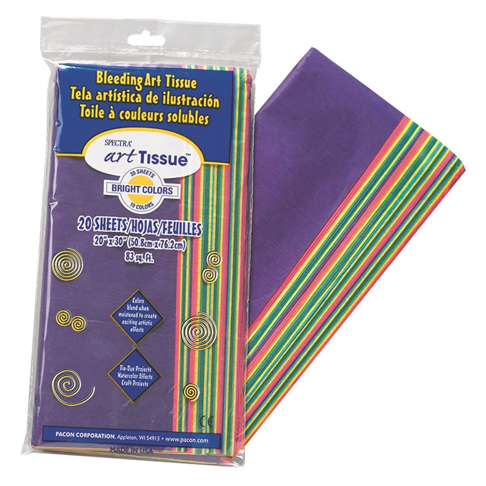 "20/"" x 30/"" 10 Color Bright Assortment 20 Sheets Deluxe Bleeding Art Tissue"