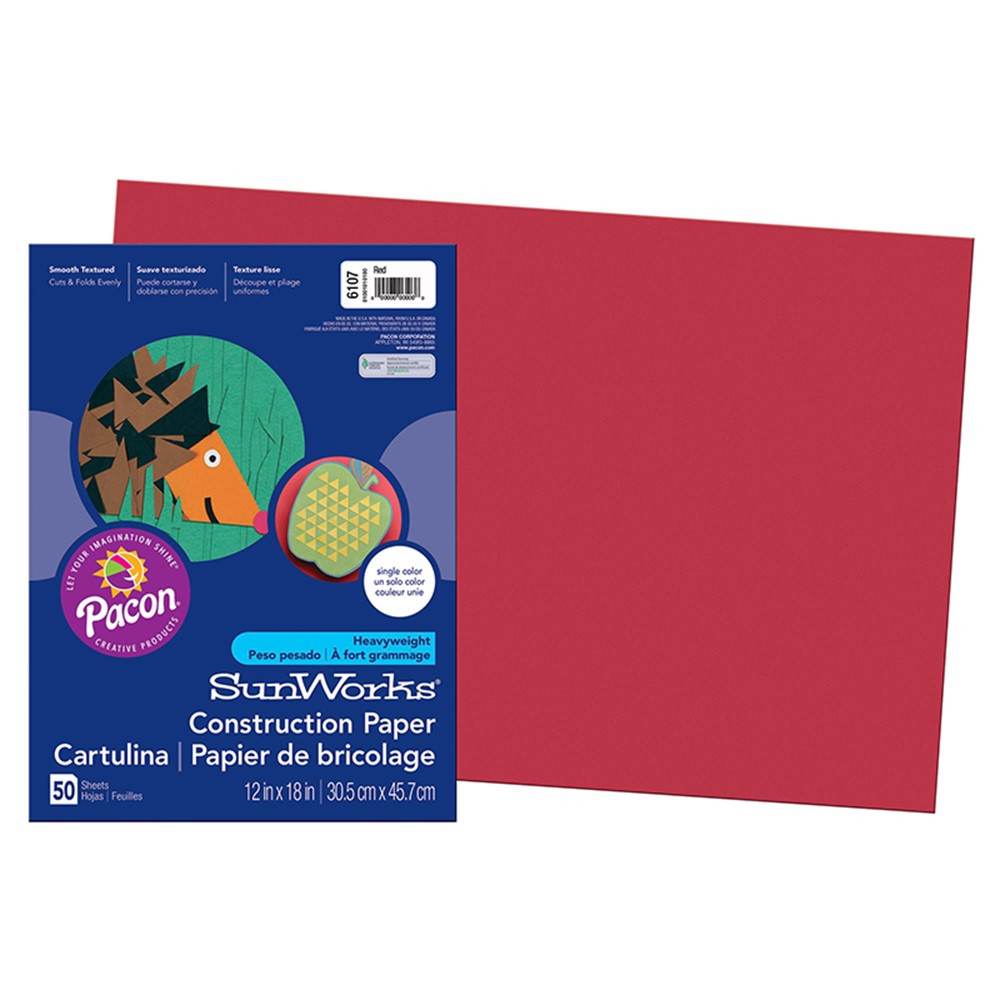 PAC6107 - Sunworks 12X18 Red 50Shts Construction Paper in Construction Paper