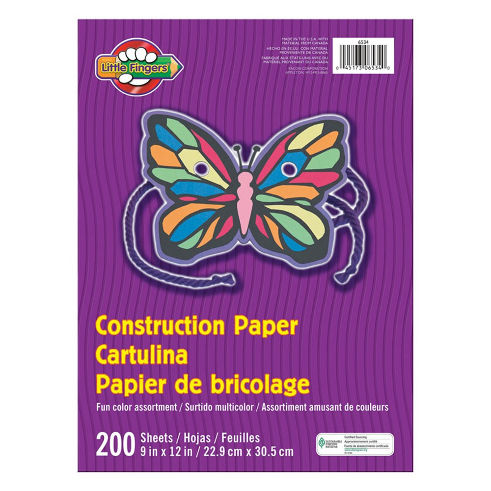 PAC6534 - Little Fingers Construction Paper Assorted Colors 200 Sheets in Construction Paper