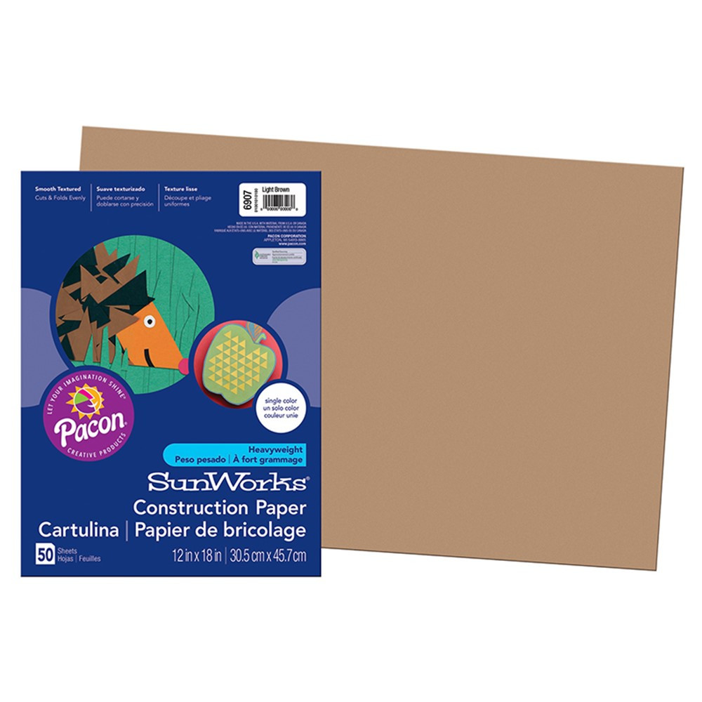 PAC6907 - Construction Paper Lite Brown 12X18 in Construction Paper