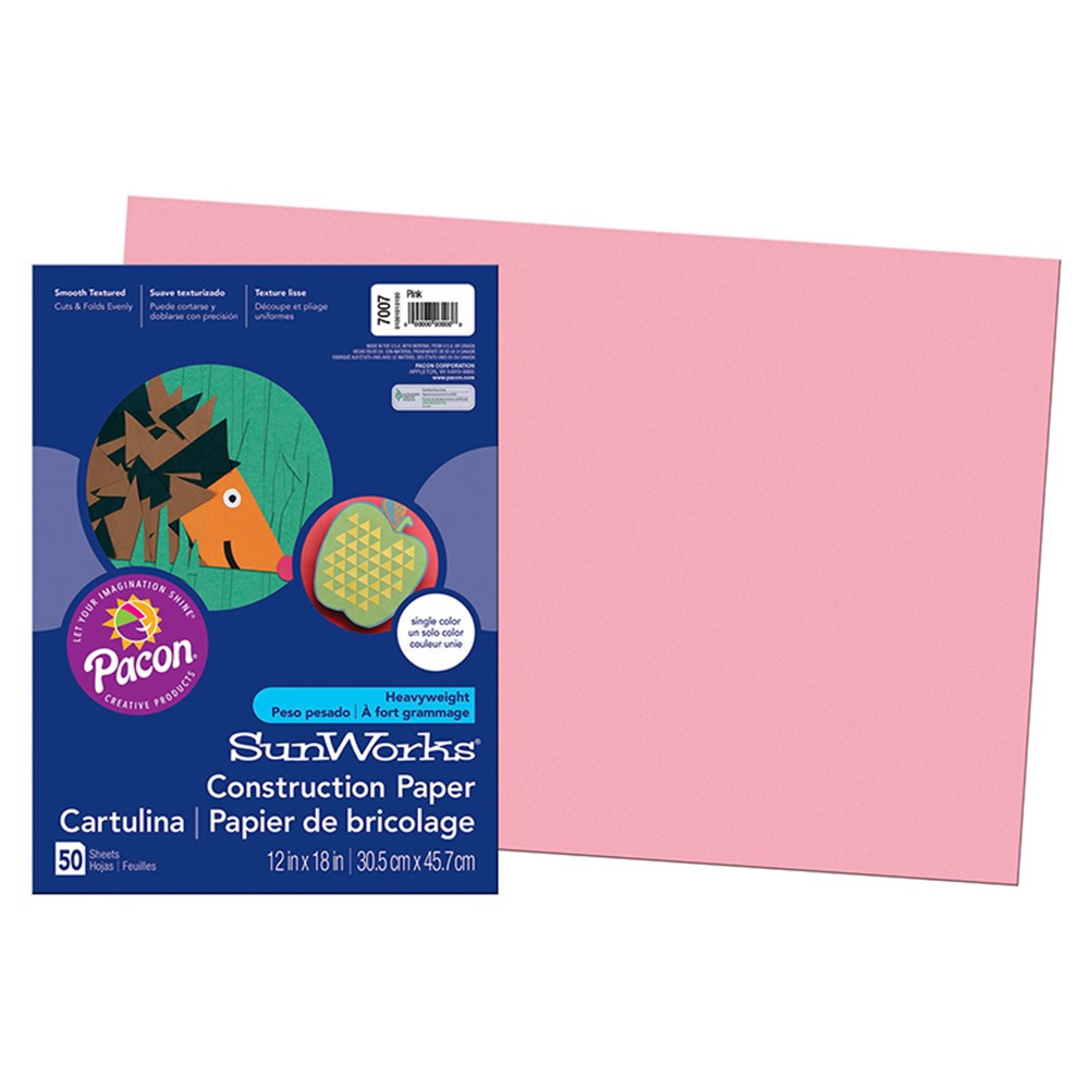 PAC7007 - Construction Paper Pink 12X18 in Construction Paper