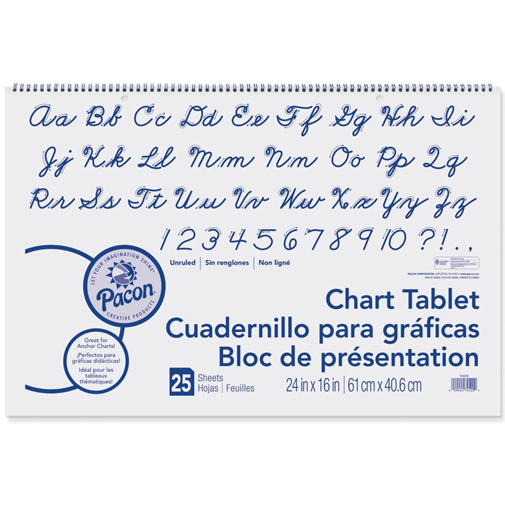 PAC74520 - Chart Tablet 24X16 Unruled 25 Ct in Chart Tablets