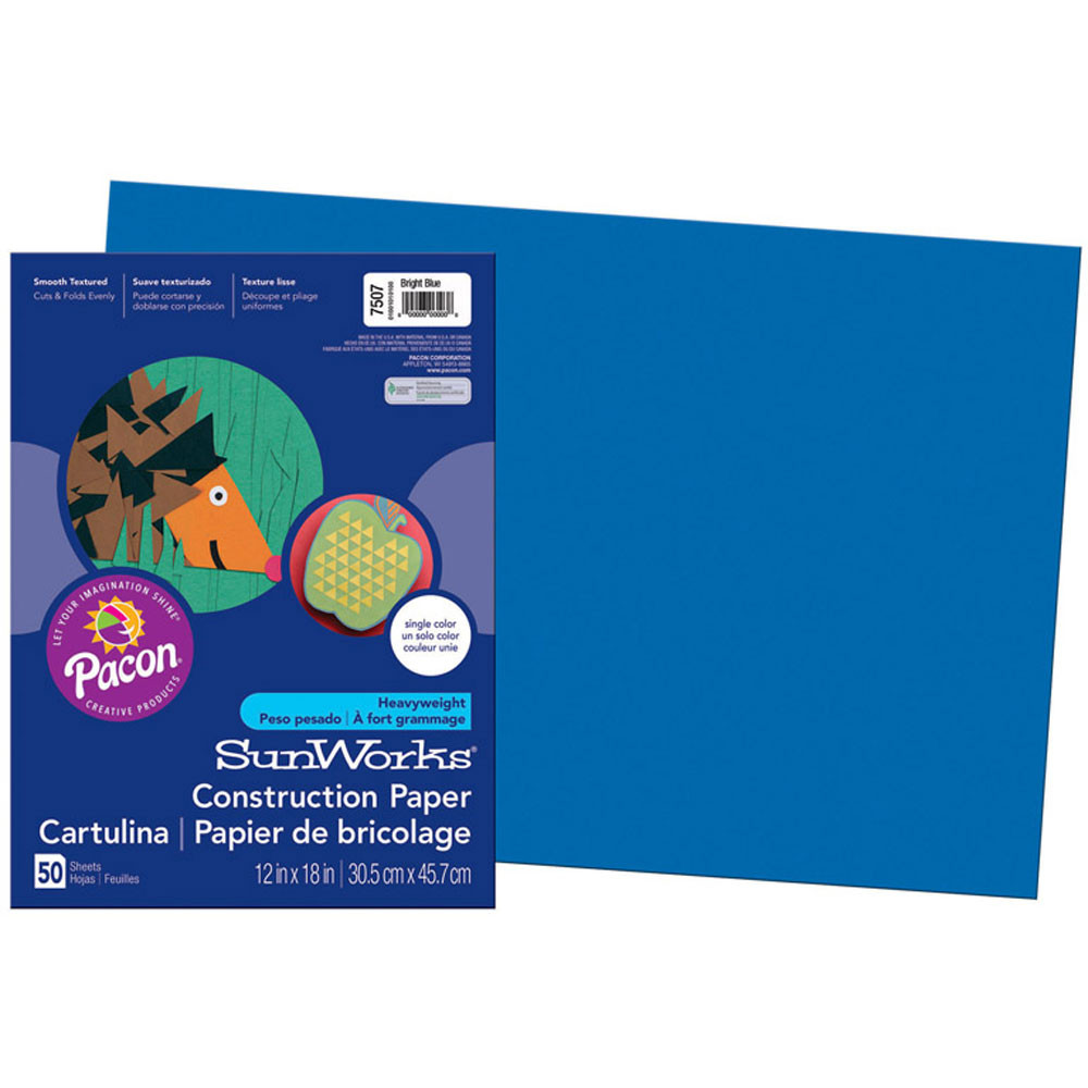 PAC7507 - Sunworks Bright Blue 12X18 Construction Paper in Construction Paper