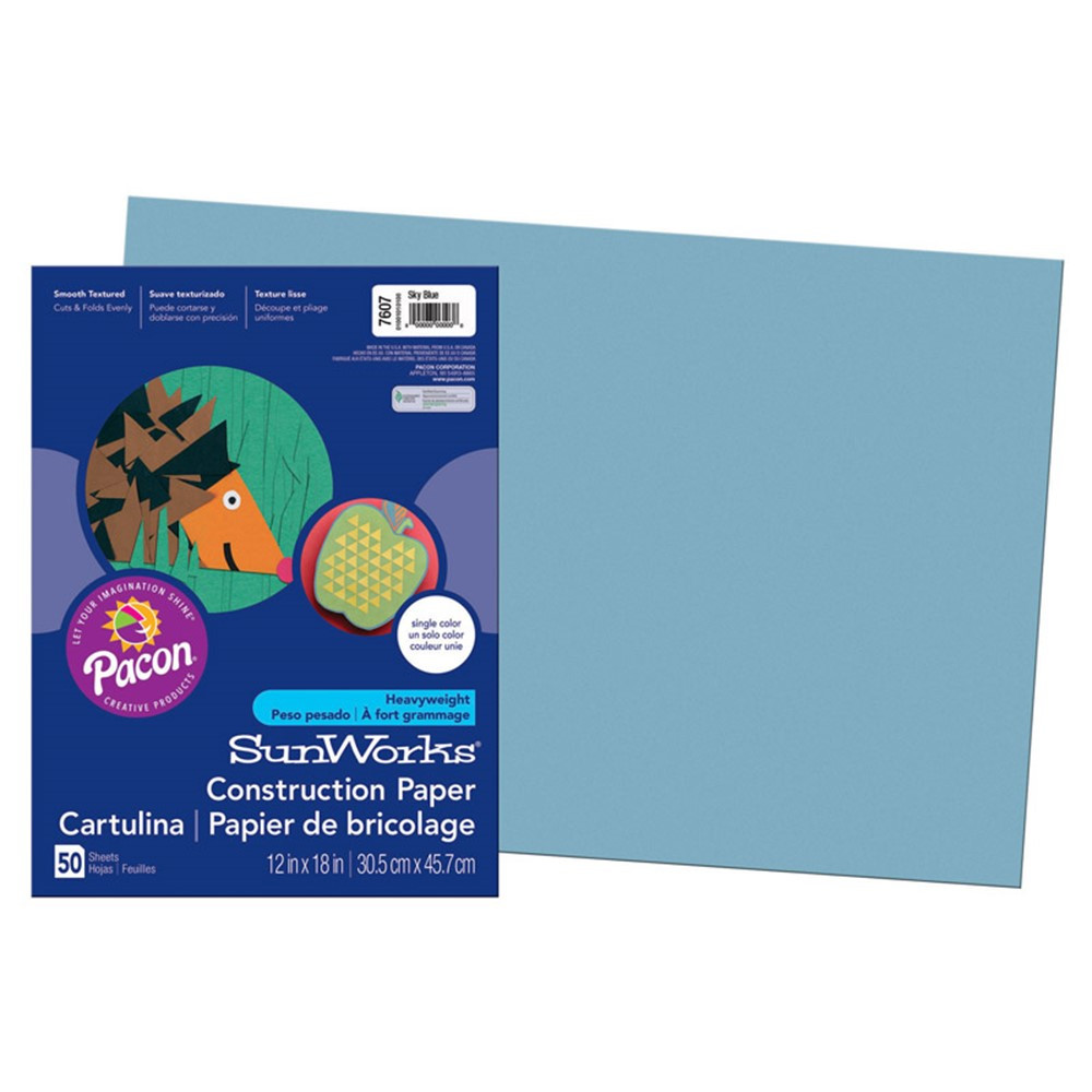 PAC7607 - Construction Paper Sky Blue 12X18 in Construction Paper