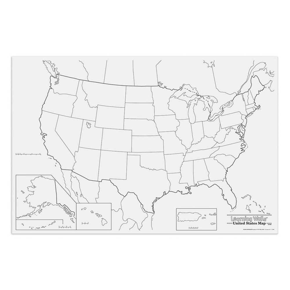 Giant Us Map 48in X 72in Pac78760 Pacon Corporation - Giant-us-map