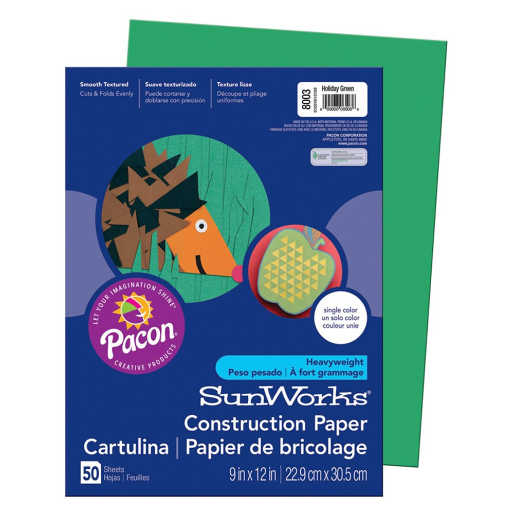 PAC8003 - Sunworks 9X12 Holiday Green 50Ct Construction Paper in Construction Paper