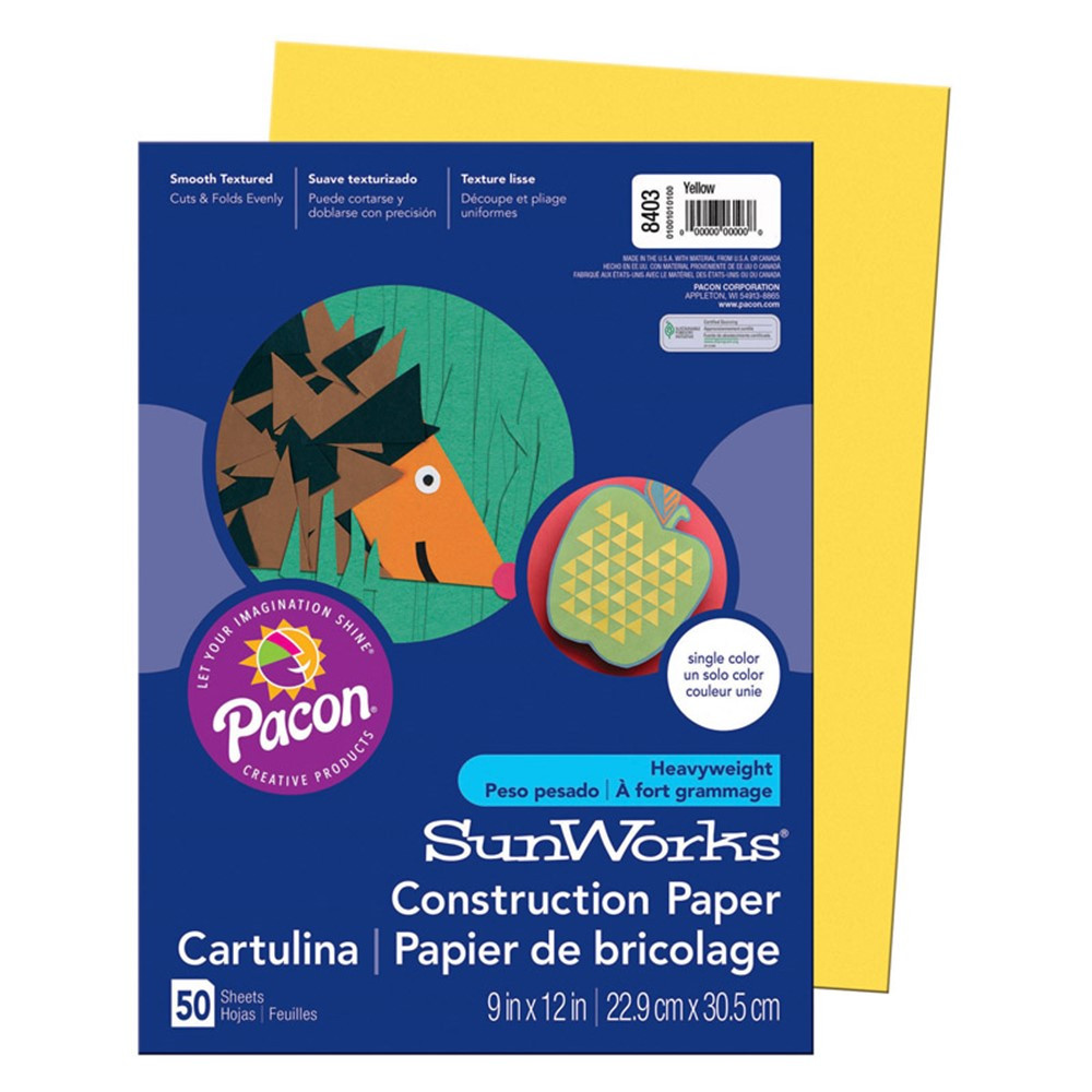 PAC8403 - Sunworks 9X12 Yellow 50Ct Construction Paper in Construction Paper