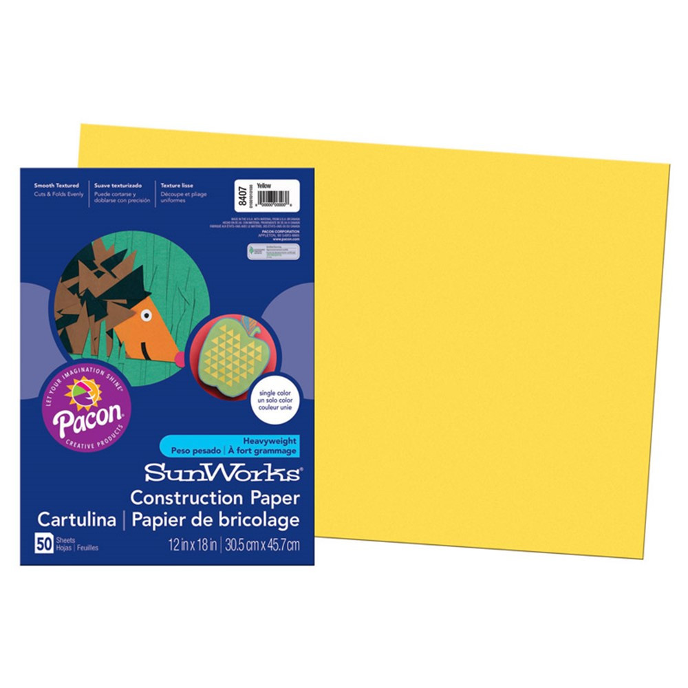 PAC8407 - Sunworks 12X18 Yellow 50Ct Construction Paper in Construction Paper