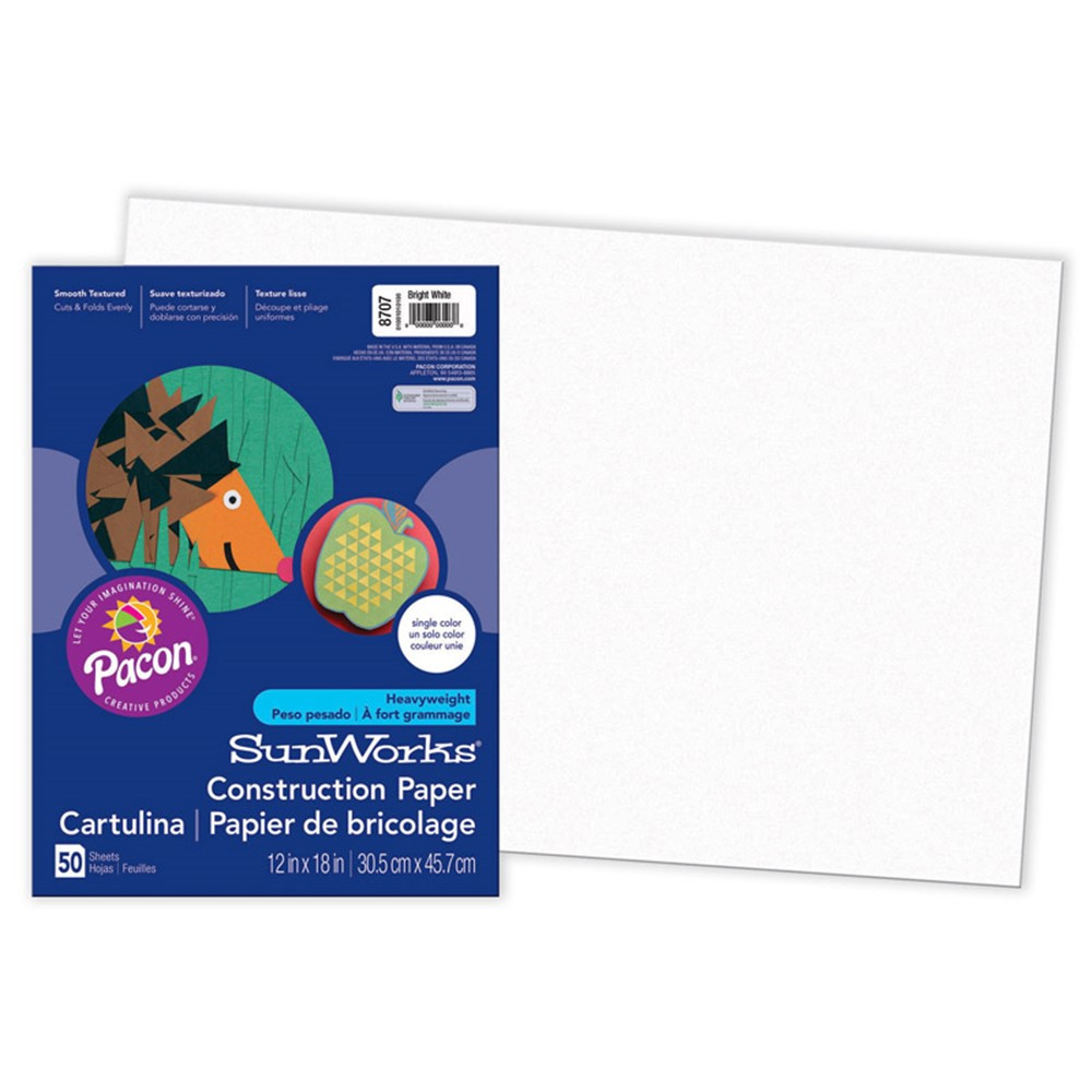 PAC8707 - Sunworks 12X18 Bright White 50Ct Construction Paper in Construction Paper