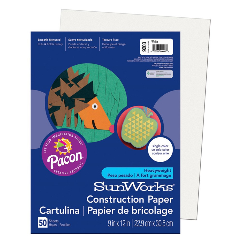PAC9203 - Sunworks 9X12 White 50Ct Construction Paper in Construction Paper