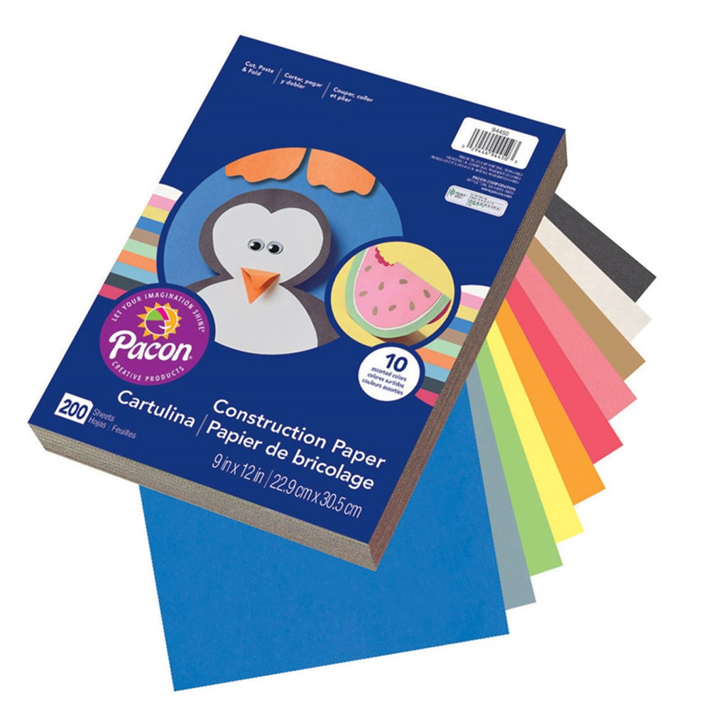 PAC94450 - Construction Paper Assorted 9X12 200 Sht in Construction Paper