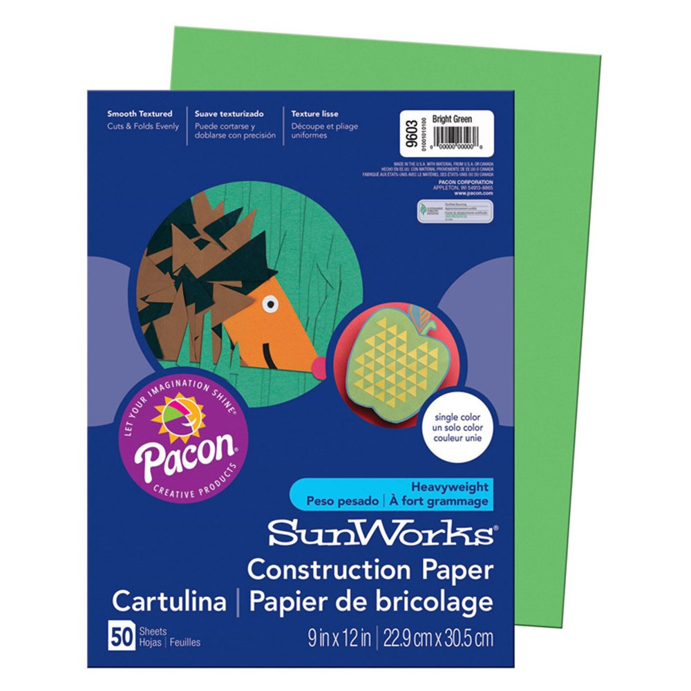 PAC9603 - Sunworks 9X12 Bright Green 50Shts Construction Paper in Construction Paper