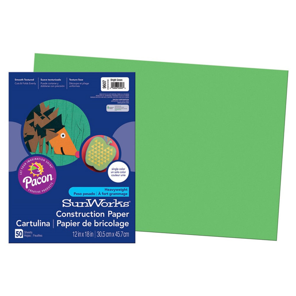 PAC9607 - Sunworks 12X18 Bright Green 50Ct Construction Paper in Construction Paper