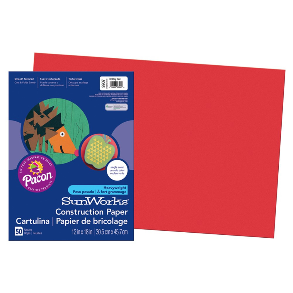 PAC9907 - Sunworks 12X18 Holiday Red 50Ct Construction Paper in Construction Paper