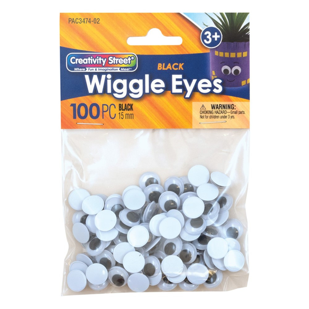 Wiggle Eyes, Black, 15 mm, 100 Pieces - PACAC347402 | Dixon Ticonderoga Co - Pacon | Wiggle Eyes
