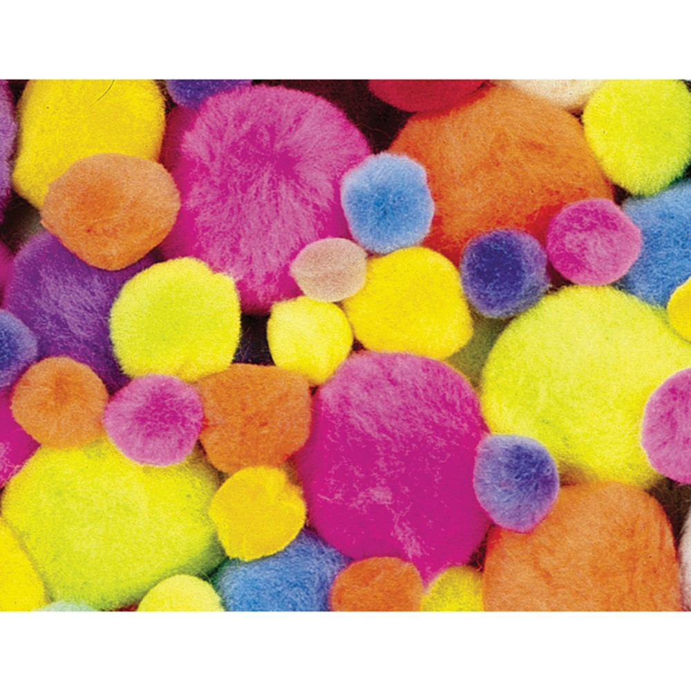 Pom Pons, Hot Colors, Assorted Sizes, 100 Pieces - PACAC811202 | Dixon Ticonderoga Co - Pacon | Craft Puffs