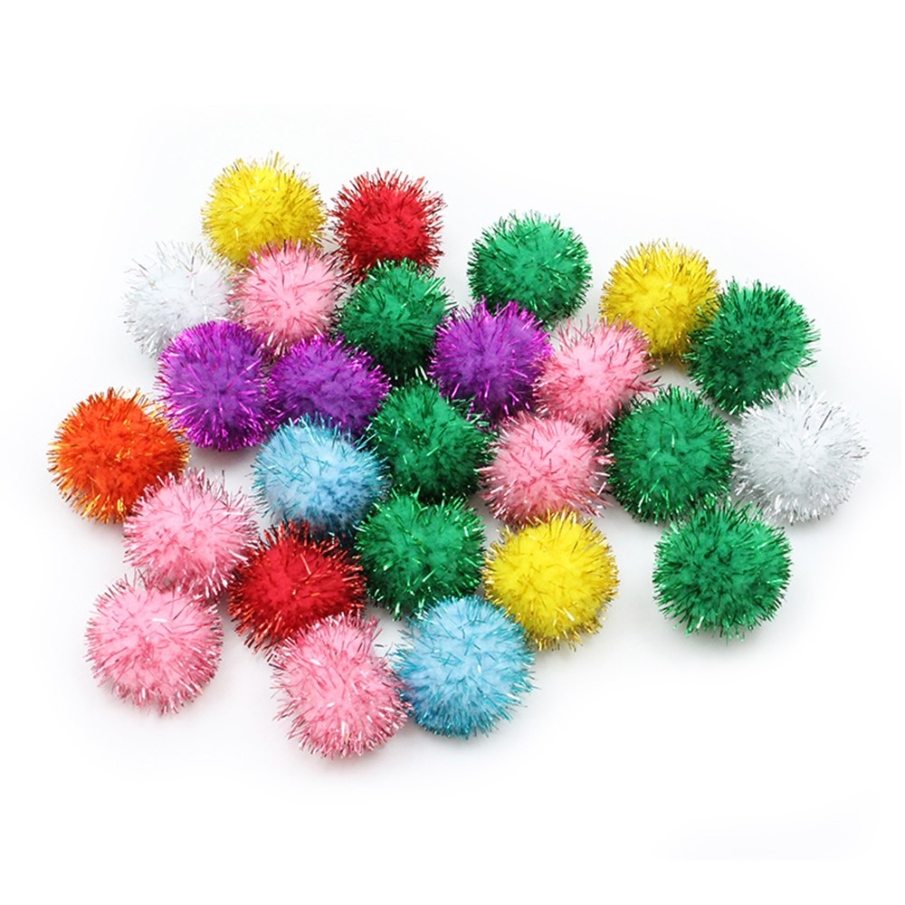 33mm glitter poms assortment 40 pcs pacac81533 pacon for Tinsel craft pom poms