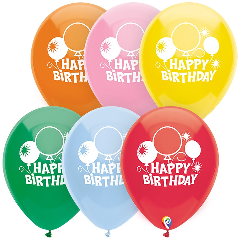 12In Happy Bday Balloons 2 Side 8Pk