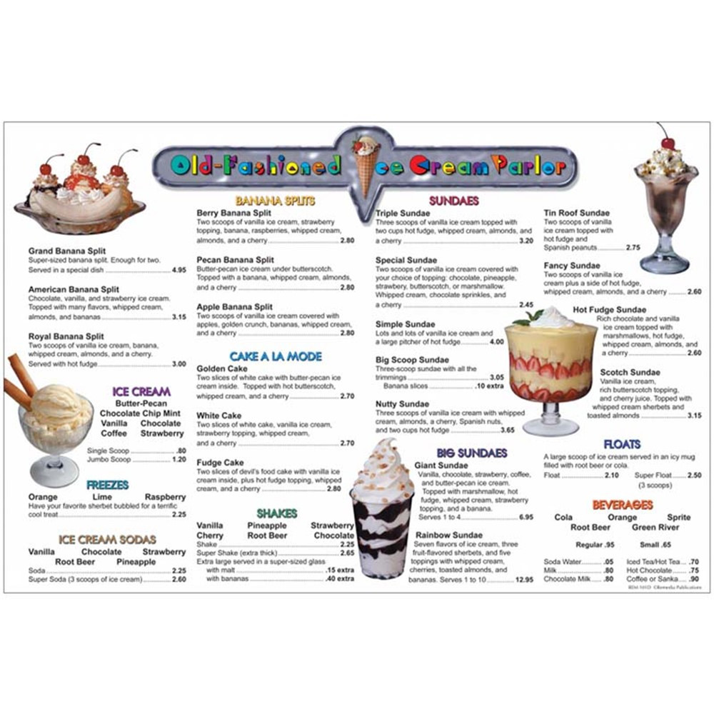 REM101D - Menu Math Ice Cream Parlor 6Pk Extra Menus in Money