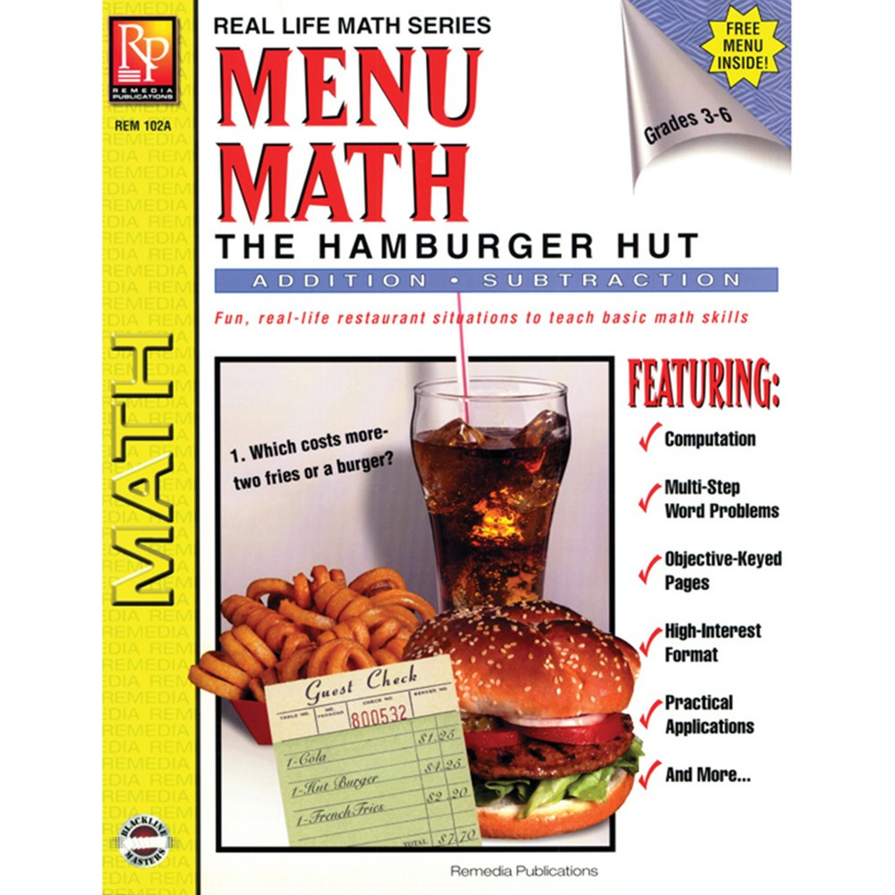 REM102A - Menu Math Hamburger Hut Book-1 Add & Subtract in Money
