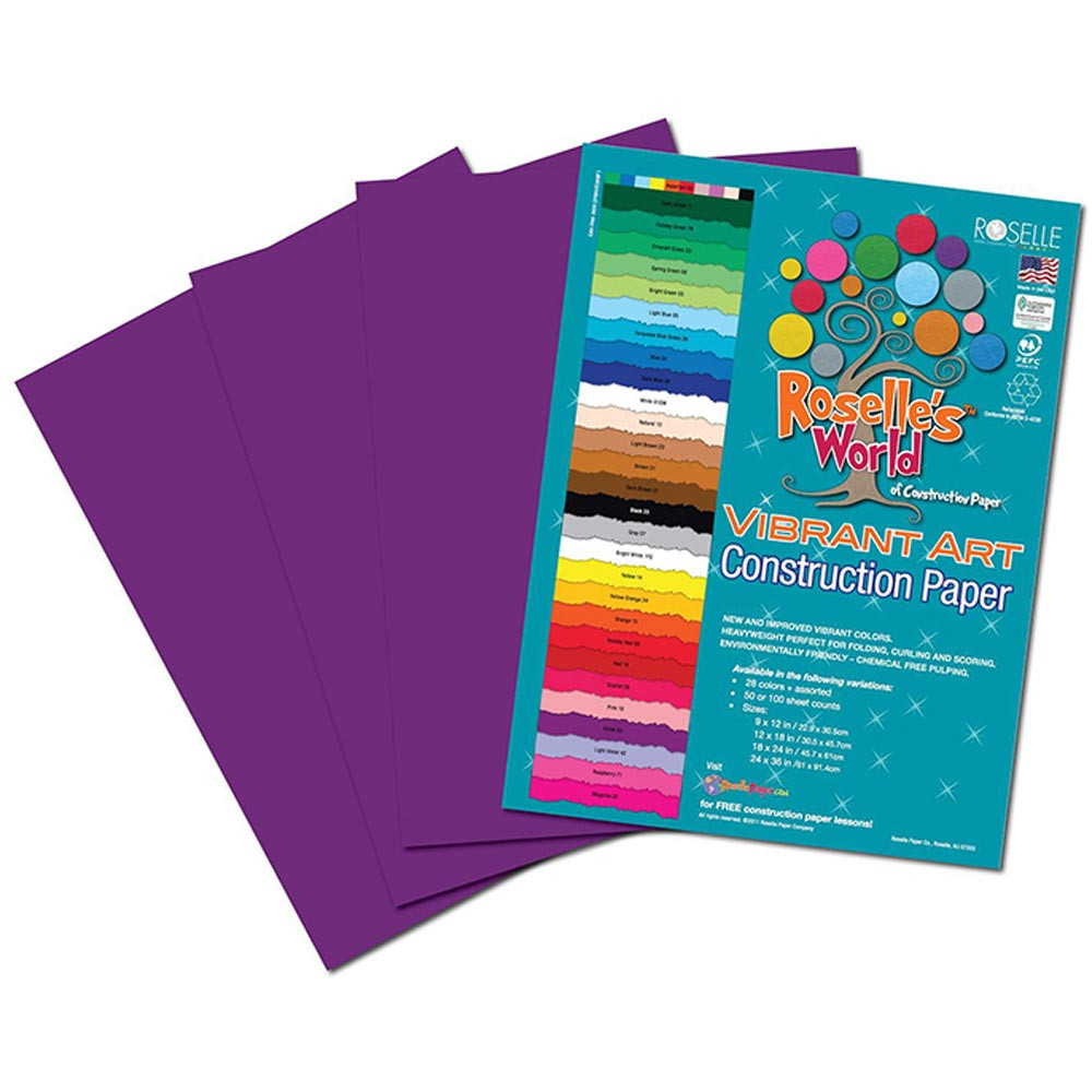 ROS60302 - Violet Construction Paper 12X18 50 Sheets in Construction Paper