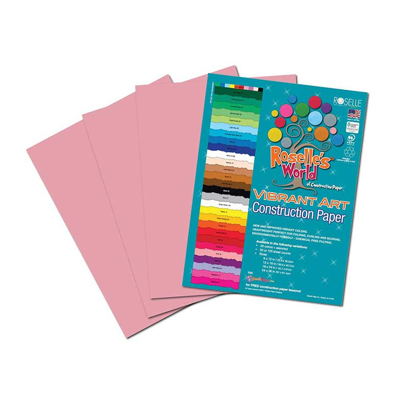 ROS61802 - Pink Construction Paper 12X18 50 Sheets in Construction Paper