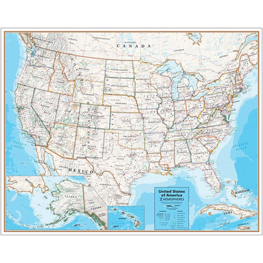Laminated Wall Map United States Hemispheres Contemporary