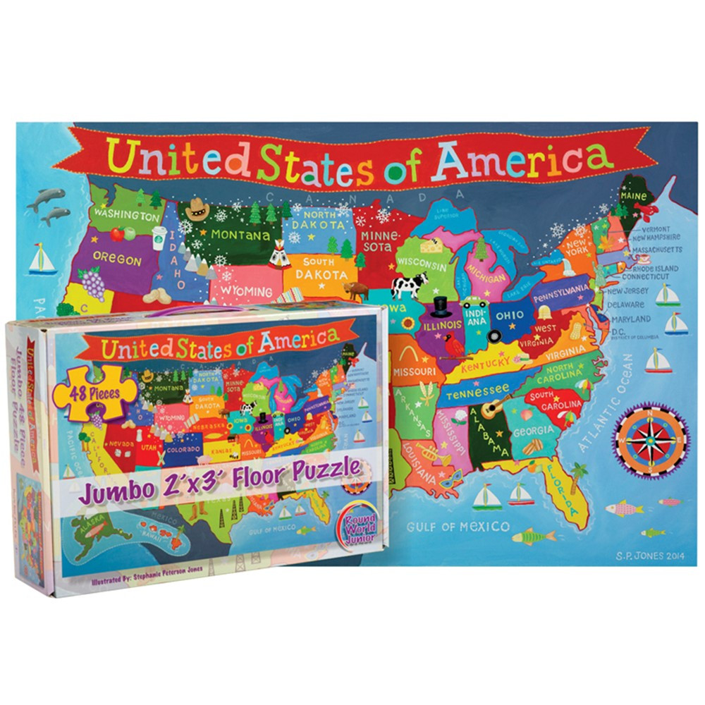RWPKP04 - United States Floor Puzzle For Kids in Floor Puzzles