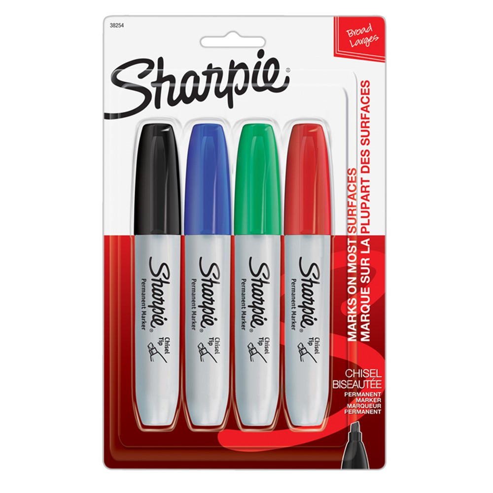 SAN38254PP - Sharpie Chisel 4 Card Asst in Markers