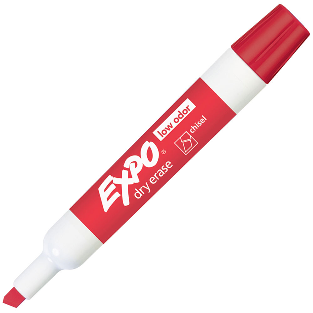 SAN80002 - Expo 2 Low Odor Dry Erase Marker Chisel Tip Red in Markers
