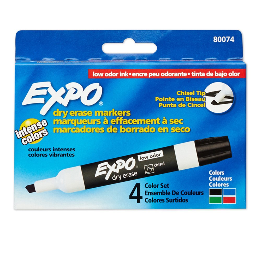 SAN80074 - Marker Expo 2 Dry Erase 4 Color Chisel Black Red Blue Green in Markers