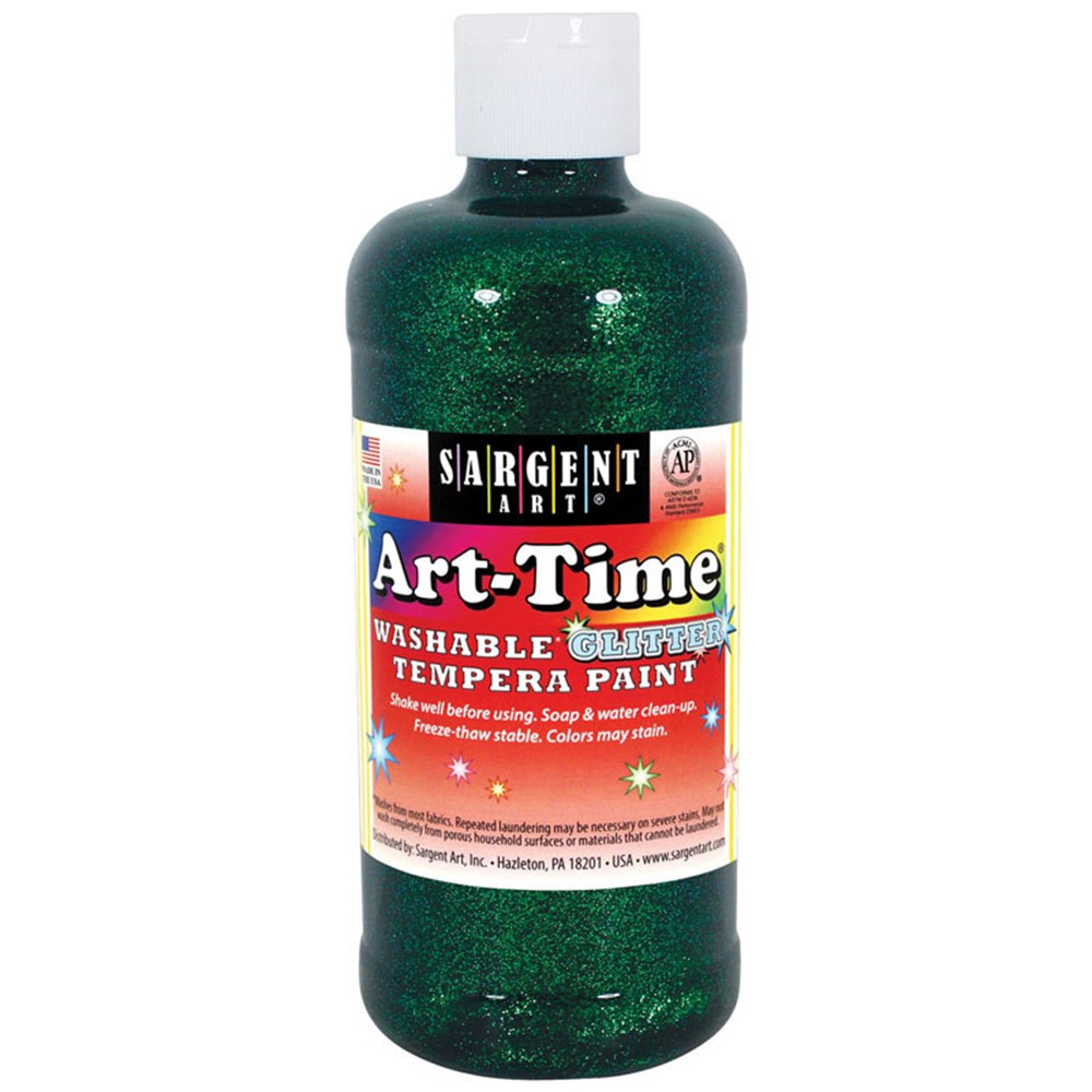 Art-Time Washable Glitter Tempera, 16 oz., Green - SAR173766 | Sargent Art  Inc. | Paint
