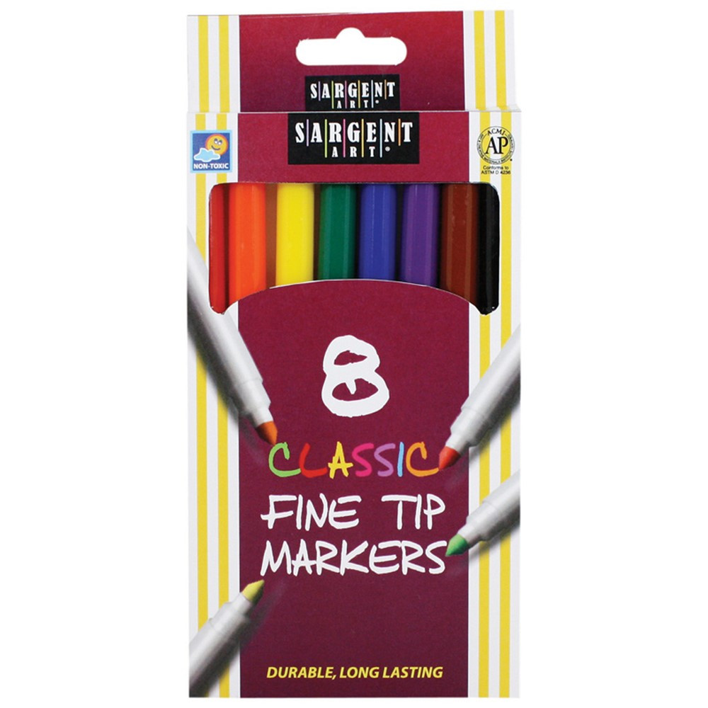 SAR221540 - Sargent Art Classic Markers Fine Tip 8 Colors in Markers