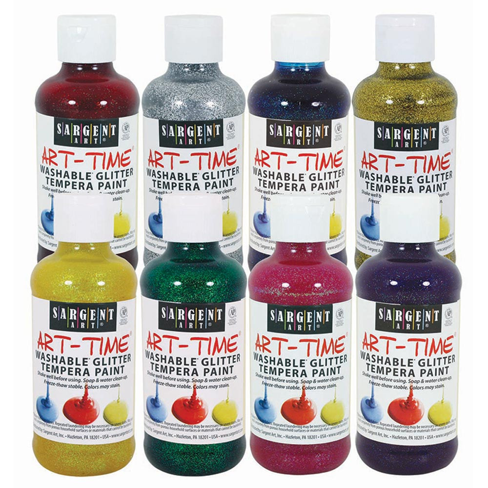SAR223999 - Washable Glitter Tempera Paint 8Pk 8Oz Assorted in Paint