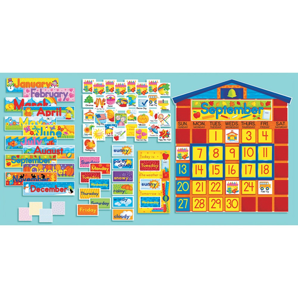 Classroom Calendar Bulletin Board Set : Bulletin board set school house calendar sc