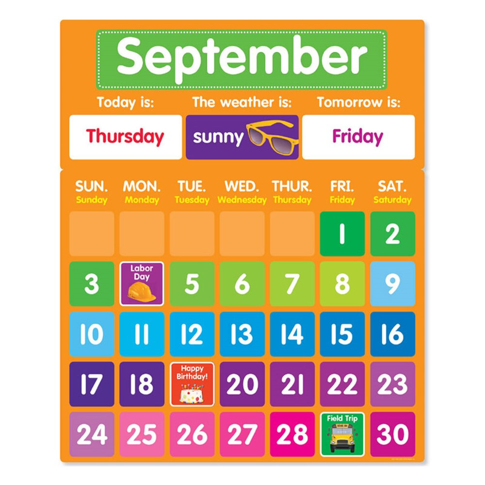 Calendar For Kids In Classroom : Color your classroom calendar bbs sc scholastic
