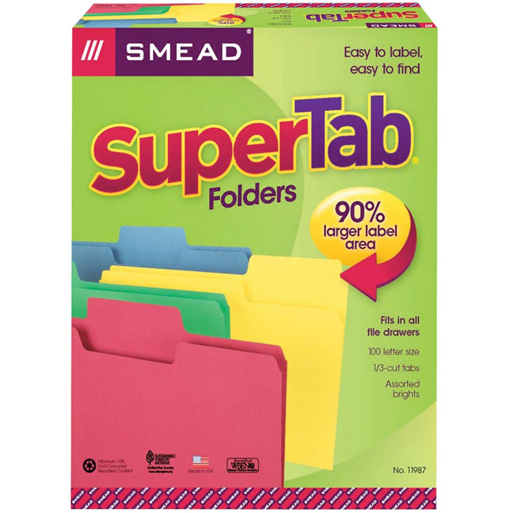 SMD11987 - Smead 100Bx Asst Colors Supertab Letter Size Folders in Folders